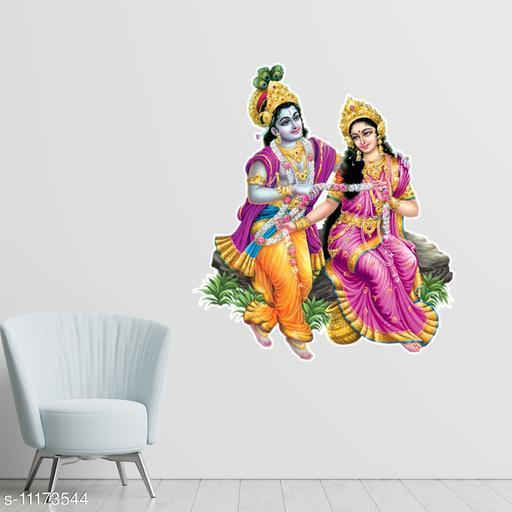 Masstone Radha Krishna Religious God Decorative Wall Sticker