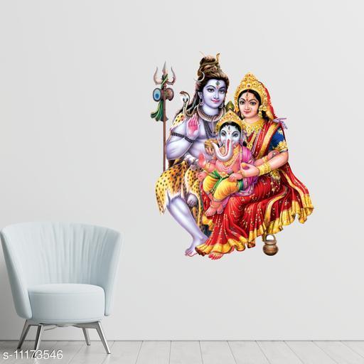 Masstone Lord Shiva And Parvati with Ganesha Religious God Decorative Wall Sticker