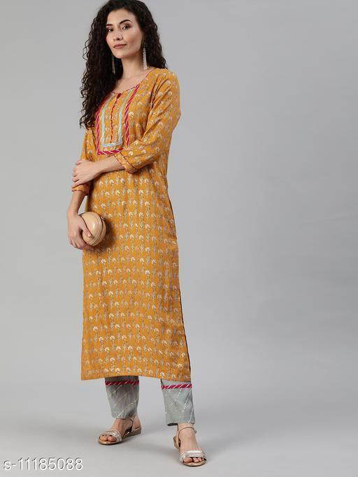 Ishin Women's Yellow Yoke Design A-Line Kurta Trouser Set