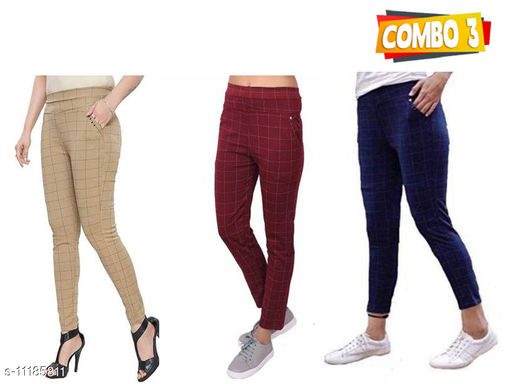Pihu Solid Check Jegging combo of  3 for Girl/Women's