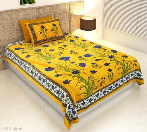 Yellow Kashmir Kali Single Bedsheet with 1 Pillow Cover