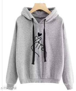 RWS-WNTR006 Grey Heart Print Hooded SweatShirt