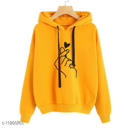 RWS-WNTR006 Mustard Heart Print Hooded SweatShirt