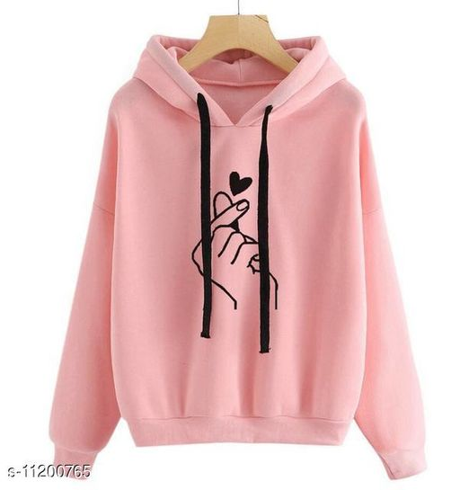 RWS-WNTR006 Light Pink Heart Print Hooded SweatShirt