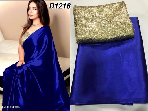 Heavy satin silk saree with sequnce work blouse piece saree for women