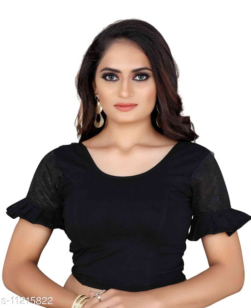 Women's Black color Lycra blouse with Short sleeve and Round neck