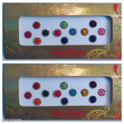 big size round with centre stone bindi set of 2 cards multicolour