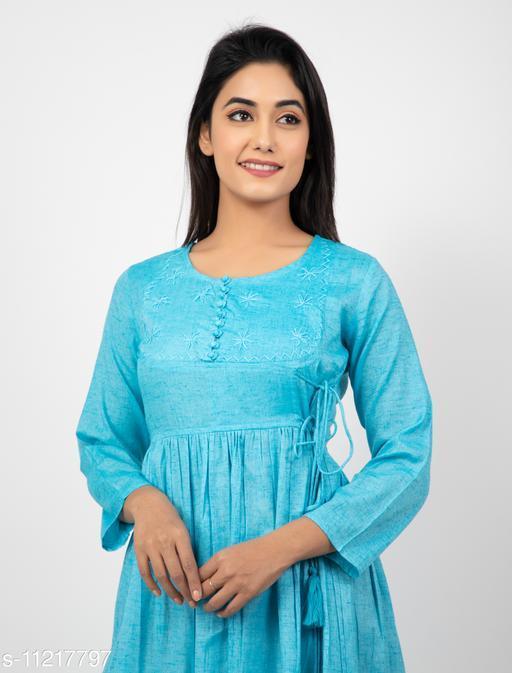 Women's Embroidered Cotton Linen Anarkali Kurti