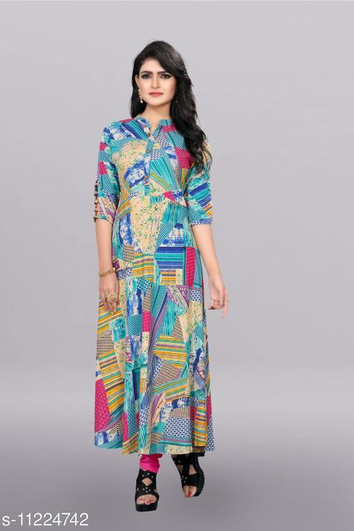 Women's Printed Rayon Long Anarkali Dresses