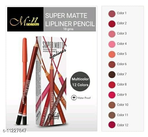 Lips MN Super Matte Lipliner set of 12pcs Product Name: MN Super Matte Lipliner set of 12pcs Finish: Cream Color: Combo Of Different Color Type: Stick Country of Origin: India Sizes Available: Free Size *Proof of Safe Delivery! Click to know on Safety Standards of Delivery Partners- https://ltl.sh/y_nZrAV3  Catalog Rating: ★3.9 (809)  Catalog Name: Free Gift Proffesional Stylish Lipsticks CatalogID_2095118 C51-SC1243 Code: 671-11227847-