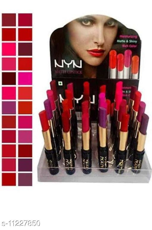 Lips Nyn Lipsticks set of 24pcs Product Name: Nyn Lipsticks set of 24pcs Finish: Cream Color: Combo Of Different Color Type: Stick Country of Origin: India Sizes Available: Free Size *Proof of Safe Delivery! Click to know on Safety Standards of Delivery Partners- https://ltl.sh/y_nZrAV3  Catalog Rating: ★3.9 (809)  Catalog Name: Free Gift Proffesional Stylish Lipsticks CatalogID_2095118 C51-SC1243 Code: 992-11227850-