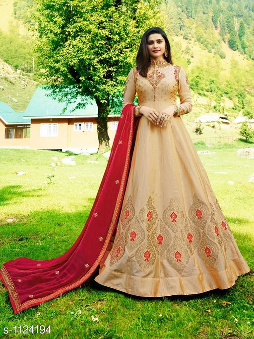 Elegant Silk Jecquard Embroidered Suit & Dress Material