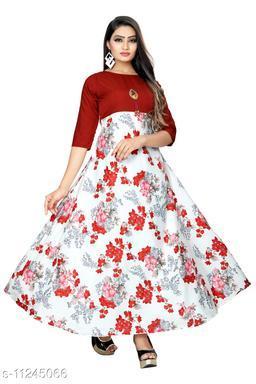 women's Beautiful Casual Printed Anarkali long gown