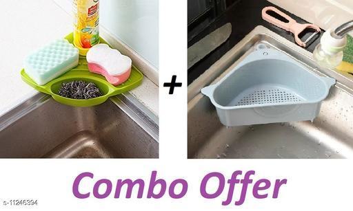 TENIDOCorner Shelf with Tray Holder Brush Storage Holder Rack with Suction Cup - Multipurpose Corner Sink Wash Basin Storage Organizer Rack,Corner Sink,Fruit Box,Corner Sink Wash Basin,Combo Offer