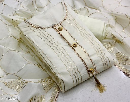 WOMANS FANCY HANDWORK  CHANDERI GOTA PATTA DRESS MATRYEL UN STTCHED SUIT