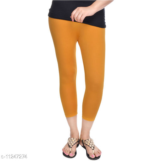 Suti Womens Cotton Lycra 3/4th Length Leggings, Mustered