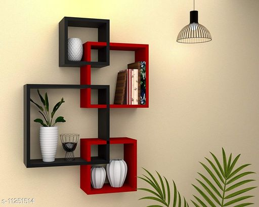 FS Traders Wooden Wall Mounted Shelf Rack for Living Room Decor (Black & Red) - Set of 4