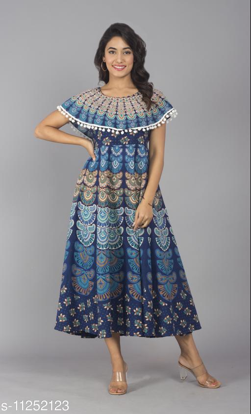 Women Cotton Blend Aqua Blue Long Maxi Dress with Pom Poms