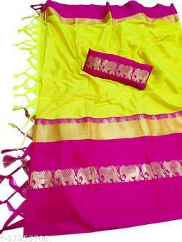 Rajawadi Elegant Elephant Design Cotton Silk Saree (Neon Yellow & Pink)