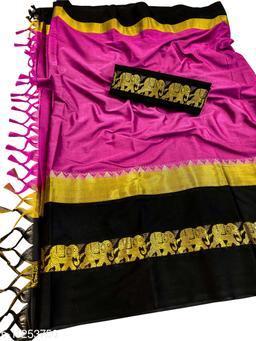 Rajawadi Elegant Elephant Design Cotton Silk Saree (Rani & Black)