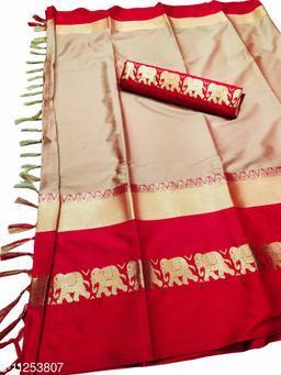 Rajawadi Elegant Elephant Design Cotton Silk Saree (Copper & Red)