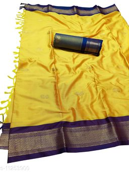 MH Traditional Paithani Silk Sarees With Contrast Blouse Piece (Gold & Violet)