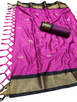 MH Traditional Paithani Silk Sarees With Contrast Blouse Piece (Rani & Black)