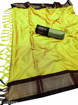 MH Traditional Paithani Silk Sarees With Contrast Blouse Piece (Lemon & Brown)