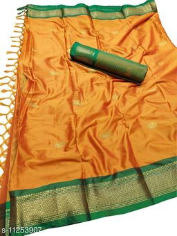 MH Traditional Paithani Silk Sarees With Contrast Blouse Piece (Orange & Green)