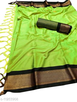 MH Traditional Paithani Silk Sarees With Contrast Blouse Piece (Neon & Black)