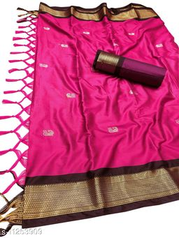 MH Traditional Paithani Silk Sarees With Contrast Blouse Piece (Creamson Red & Brown)