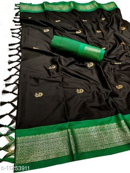 MH Traditional Paithani Silk Sarees With Contrast Blouse Piece (Black & Green)