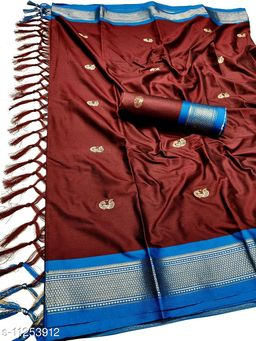 MH Traditional Paithani Silk Sarees With Contrast Blouse Piece (Brown & Blue)