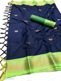 MH Traditional Paithani Silk Sarees With Contrast Blouse Piece (Navy & Neon)