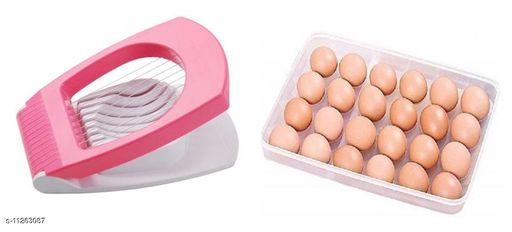 SHOPZO 24 Grids Plastic Egg Box Container Holder Tray for Fridge with Lid for 2 Dozen 24 Eggs With Egg Cutter
