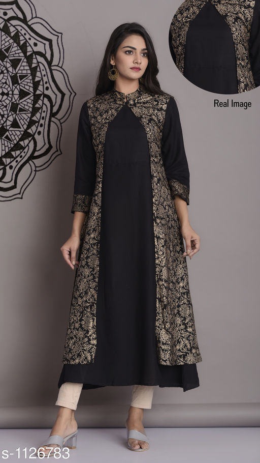 Kurta Sets Beautiful Women's Kurti and Long Kurti  *Fabric* Kurti  *Sleeves* 3/4 Sleeves are  included  *Size* Kurti  *Length* Up To 50 in  *Type* Stiched  *Description * It has 1 piece of Long Kurti with Jacket  *Work * Printed  *Sizes Available* M, L, XL, XXL, XXXL This product has very limited stock. Order fast!   Catalog Rating: ★4.3 (498) Supplier Rating: ★4.1 (17089) SKU: BlackJacket Shipping charges: Rs1 (Non-refundable) Pkt. Weight Range: 300  Catalog Name: Annabelle Pretty Womens Kurta Sets Vol 10 - FPK Code: 486-1126783--459