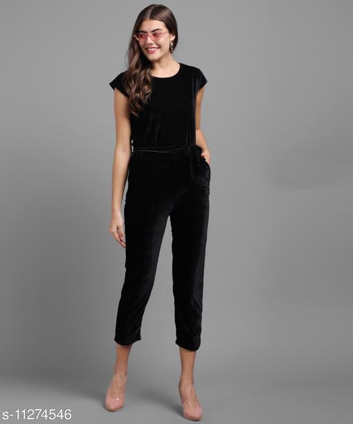 Women Black Plain Velvet Jumpsuits
