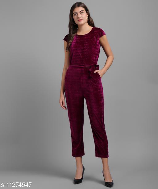 Women Maroon Plain Velvet Jumpsuits