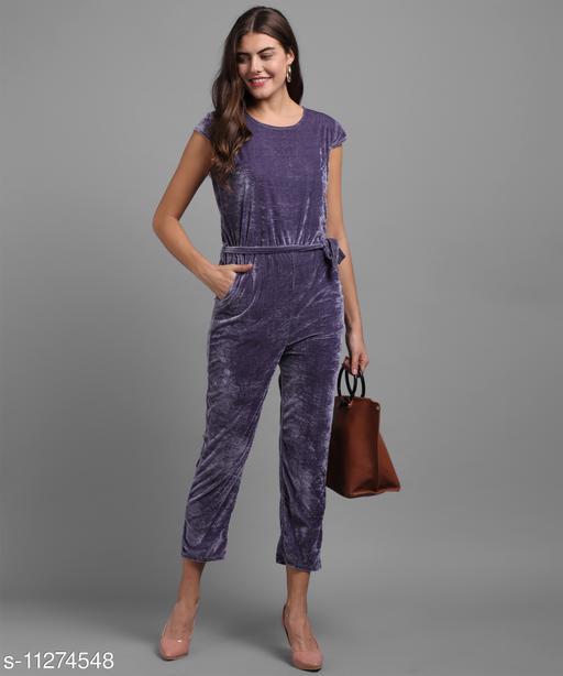 Women Light Voilet Plain Velvet Jumpsuits