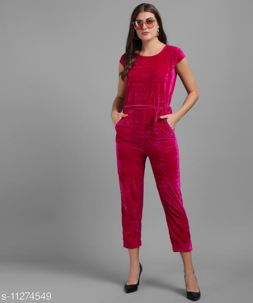 Women Pink Plain Velvet Jumpsuits