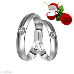 Silver Plated Adjustable Couple Rings Set for lovers Ring with 1 Piece Red Rose Gift Box  for Men and Women