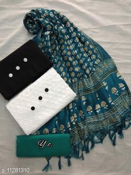 Attractive Chiffon Top & Cotton Bottom With Khadi Silk Printed Dupatta For Womens