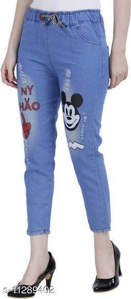 ahloxia light blue star print jeans for girls