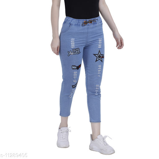 ahloxia printed denim jogger jeans for women