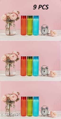 New Latest Edition Plastic Water Bottle Set with Dotted Pattern Fridge Water Bottle/Refrigerator Bottle, Travelling Bottle (Set of 9, 1L, Multicolor)