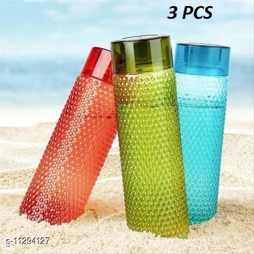 New Latest Edition Plastic Water Bottle Set with Dotted Pattern Fridge Water Bottle/Refrigerator Bottle, Travelling Bottle (Set of 3, 1L, Multicolor)