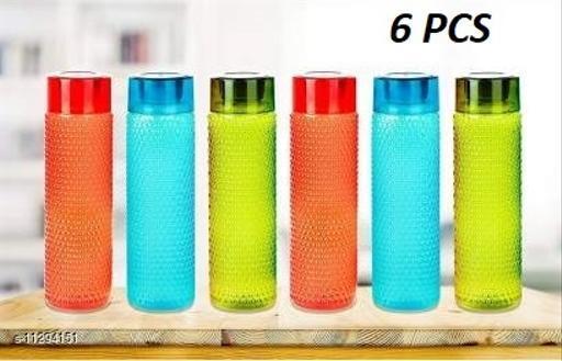 TENIDO New Latest Edition Plastic Water Bottle Set with Dotted Pattern Fridge Water Bottle/Refrigerator Bottle, Travelling Bottle (Set of 6, 1L, Multicolor)