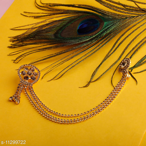 Traditional Gold Plated Exlusive Golden Colour Diamond Studded Designer Wedding Brooch For Unisex Jewellery