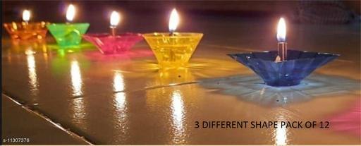 3D Shadow Reflection Floating Plastic Lamp/Decorative Dipawali/Diwali Diya/Oil Lamps for Pooja/Puja (Multicolor) Set of 12