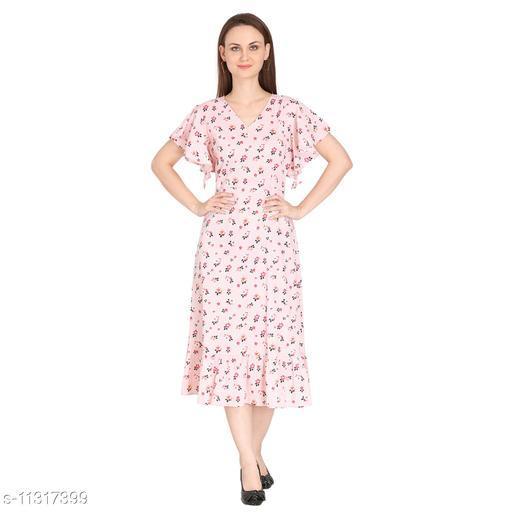 Fragrant Flower Designer Cotton Printed Dress For Women/Girl's   Pink